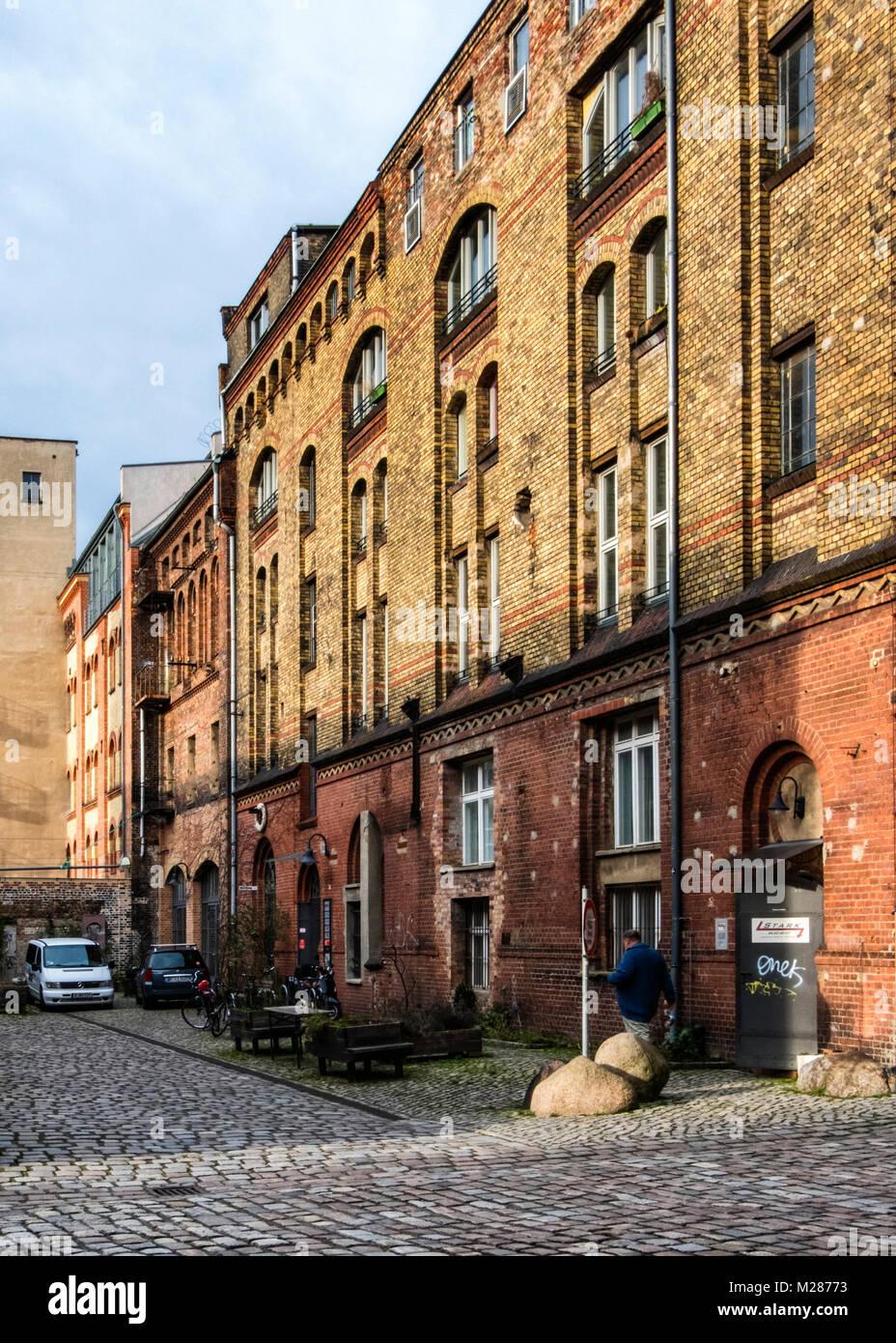 Berlin,Prenzlauerberg, Inner Courtyard of former Königstadt brewery. Historic old brick building now used as - Stock Image
