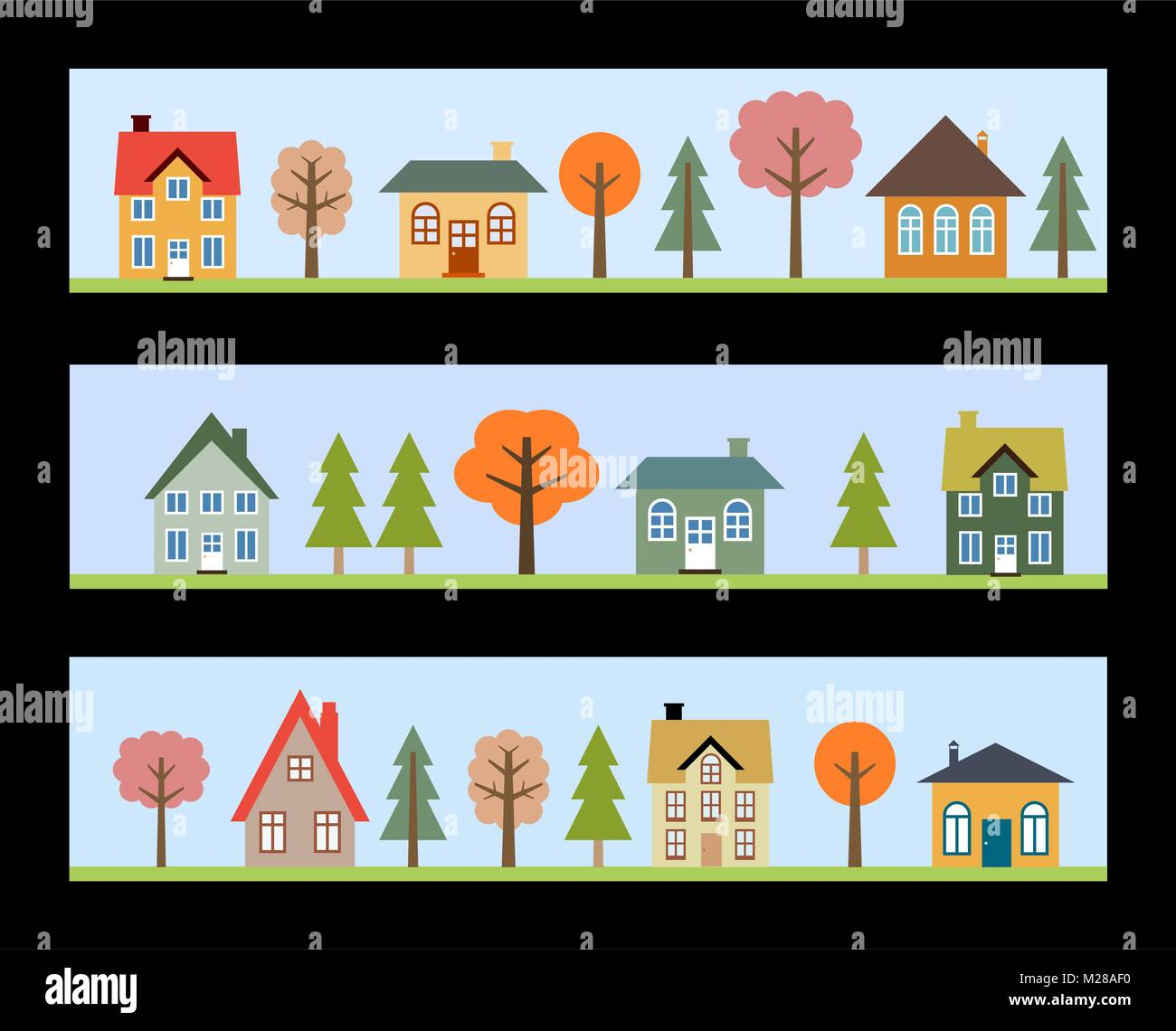 Residential neighborhoods - three banners with vector small towns. - Stock Vector