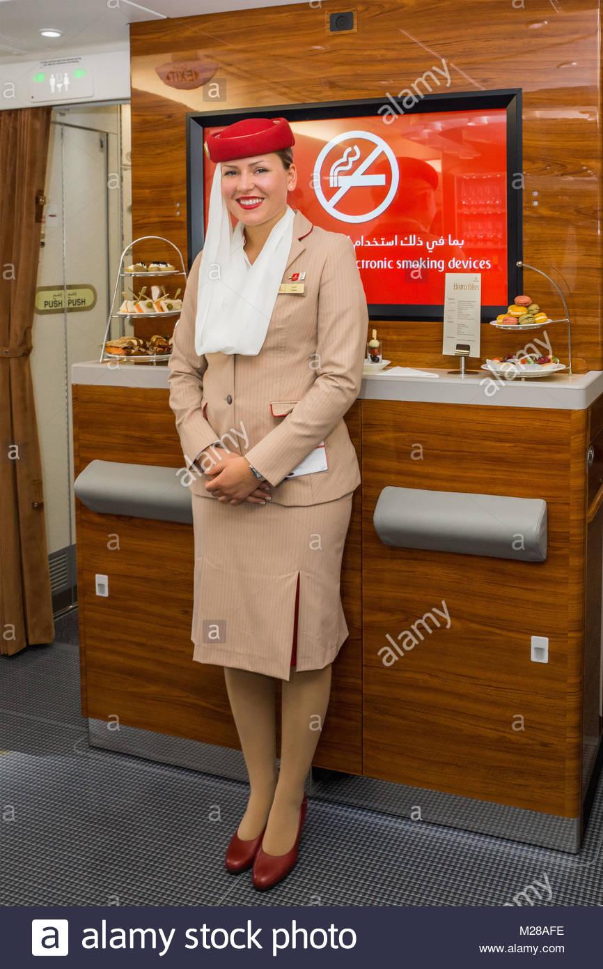 Stewardess (Emirates Cabin Crew) der arabischen Fluggesellschaft Emirates auf der ILA 2014, Berlin Air Show. - Stock Image