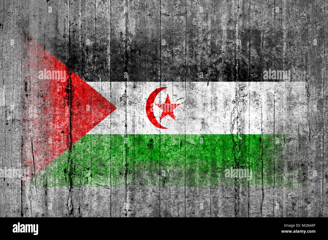 Sahrawi Arab Democratic Republic flag painted on background texture gray concrete - Stock Image