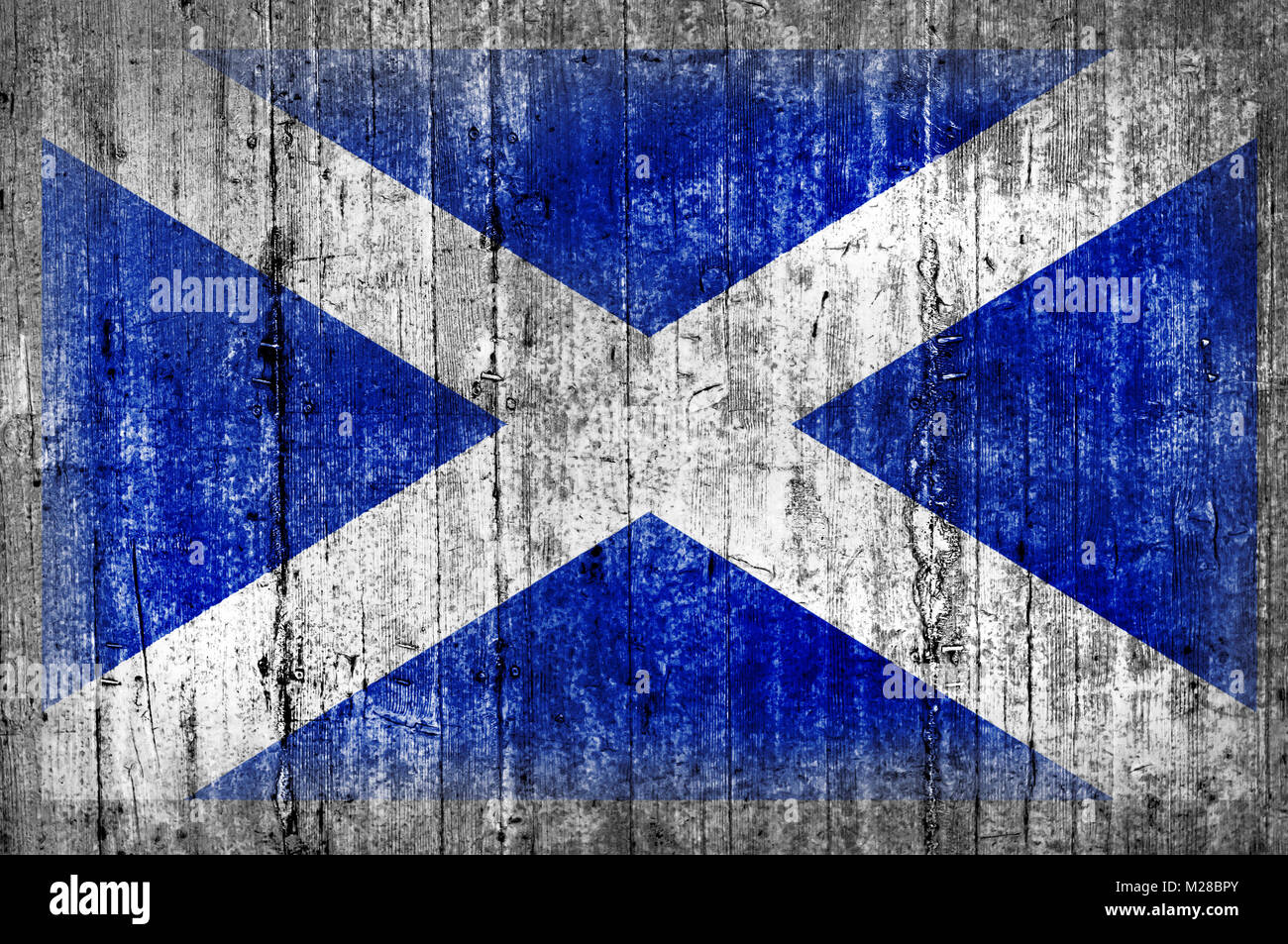 Scotland flag painted on background texture gray concrete - Stock Image