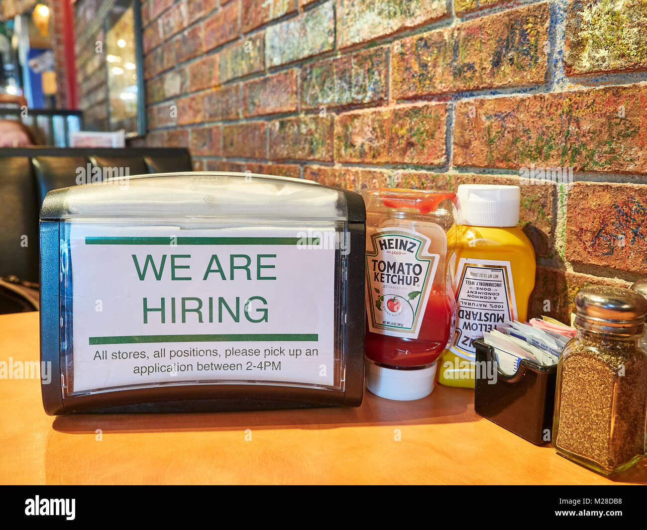 Inside Or Interior Of Restaurant Table And Napkin Holder With We Are Stock Photo Alamy