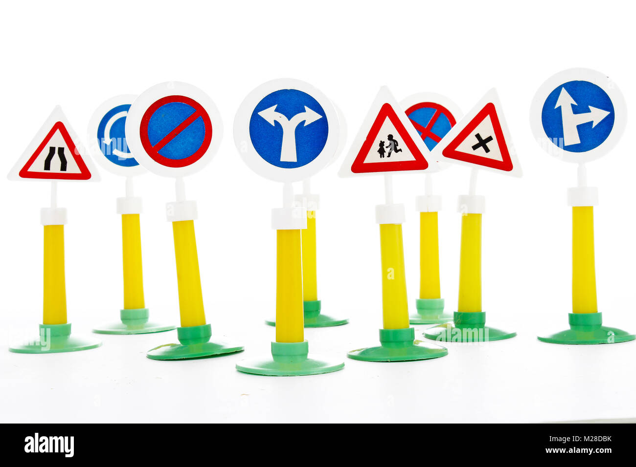 The Highway Code, road safety and vehicle rules driving law road sign toys. - Stock Image