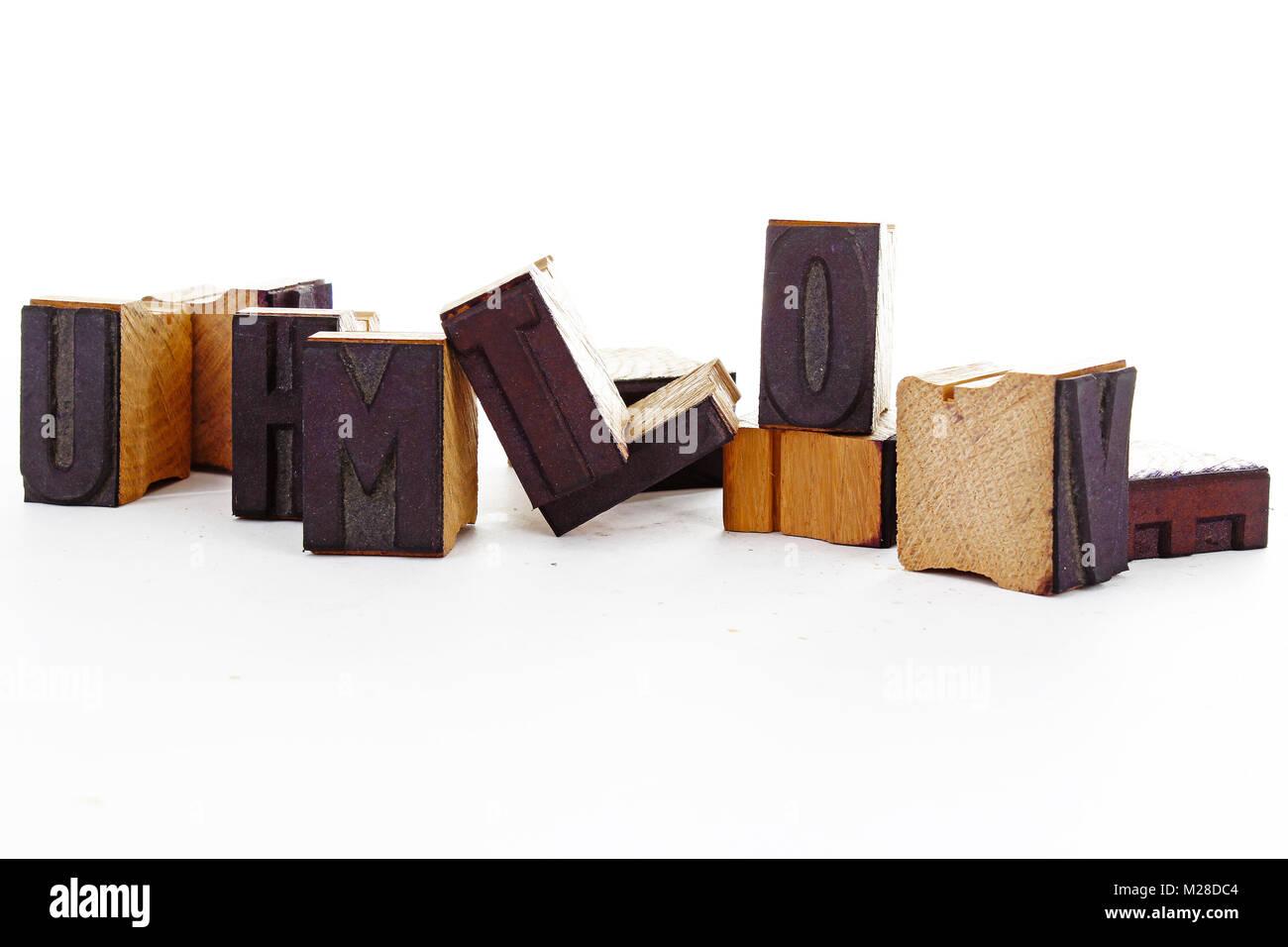 Vintage retro wooden blocks on white background. Stock Photo