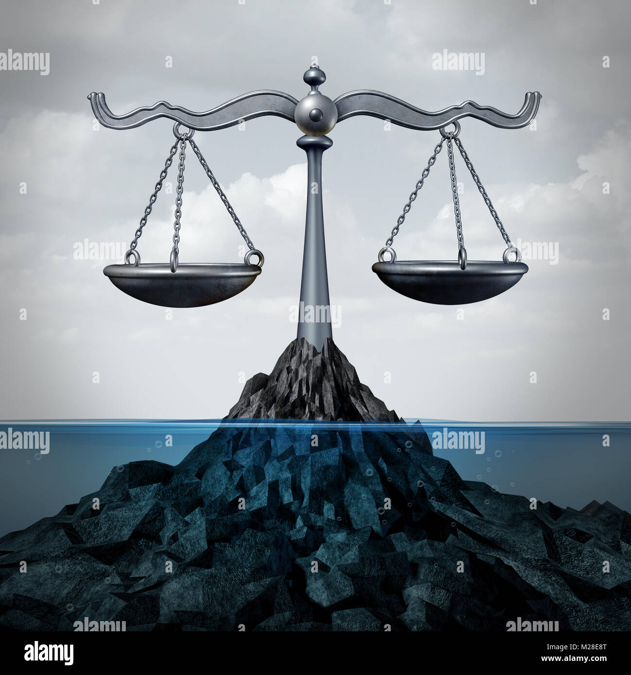 Maritime and admirality law and ocean legal services as a scale of justice concept or fishing regulations symbol Stock Photo