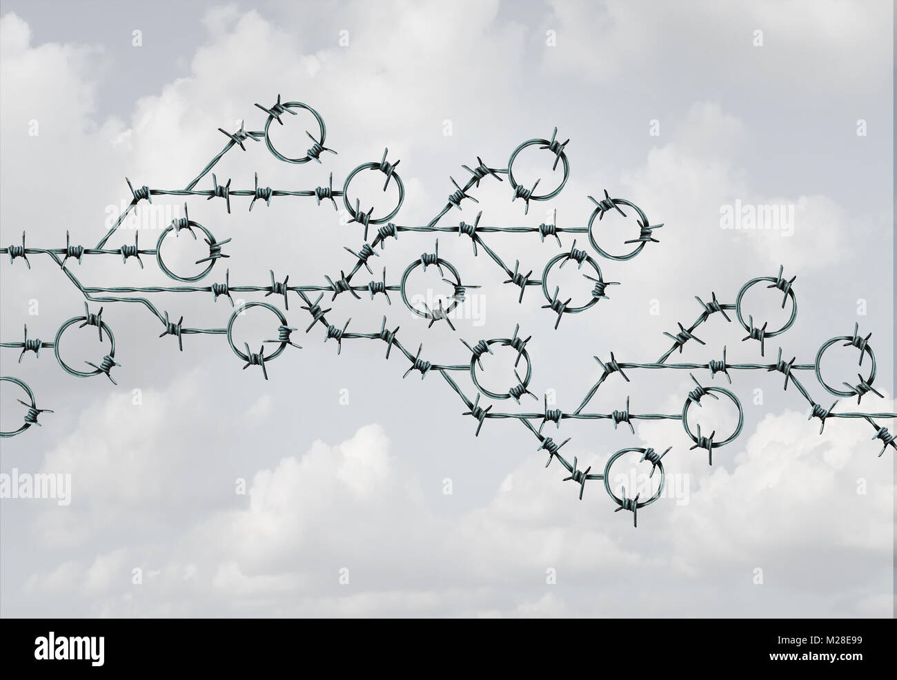 Technology security and cyber safety as barb wire shaped as a computer circuit symbol  as a tech threat protection - Stock Image