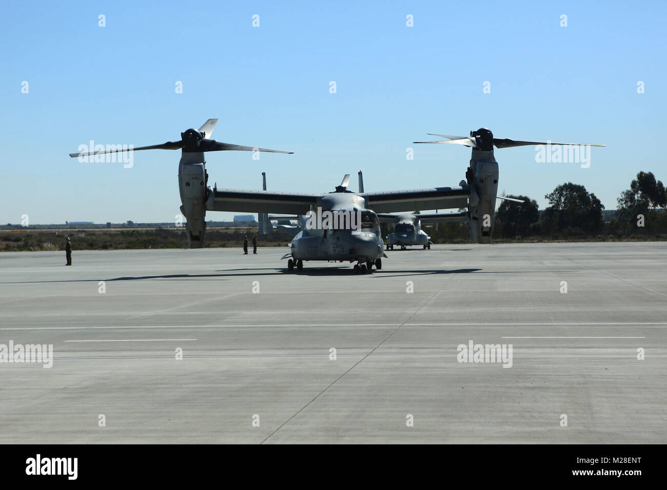 Marine Medium Tiltrotor Squadron (VMM) 161 (Reinforced) Ospreys return from the 15th Marine Expeditionary Unit at Stock Photo
