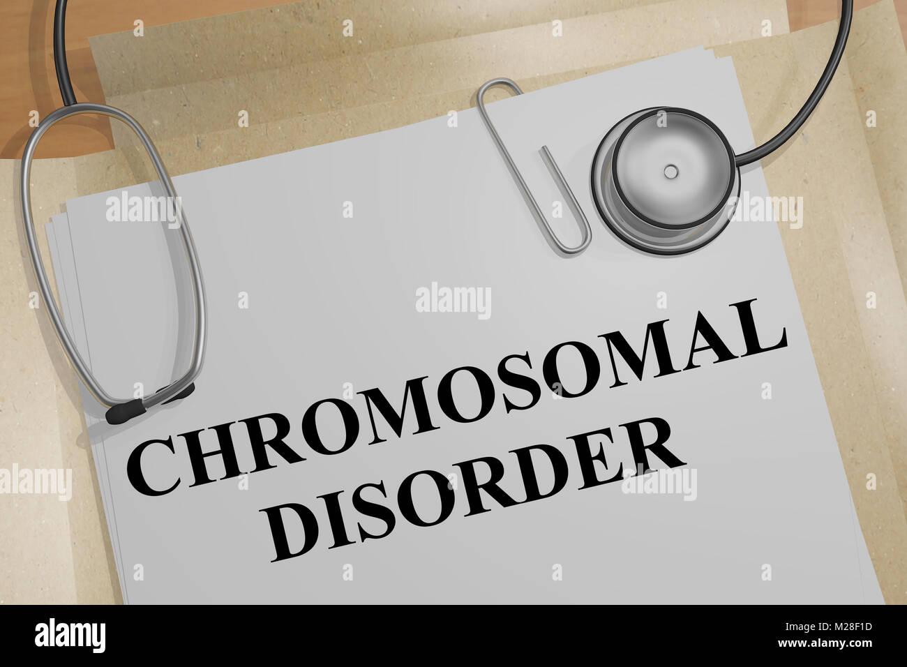 3D illustration of CHROMOSOMAL DISORDER title on a medical document - Stock Image