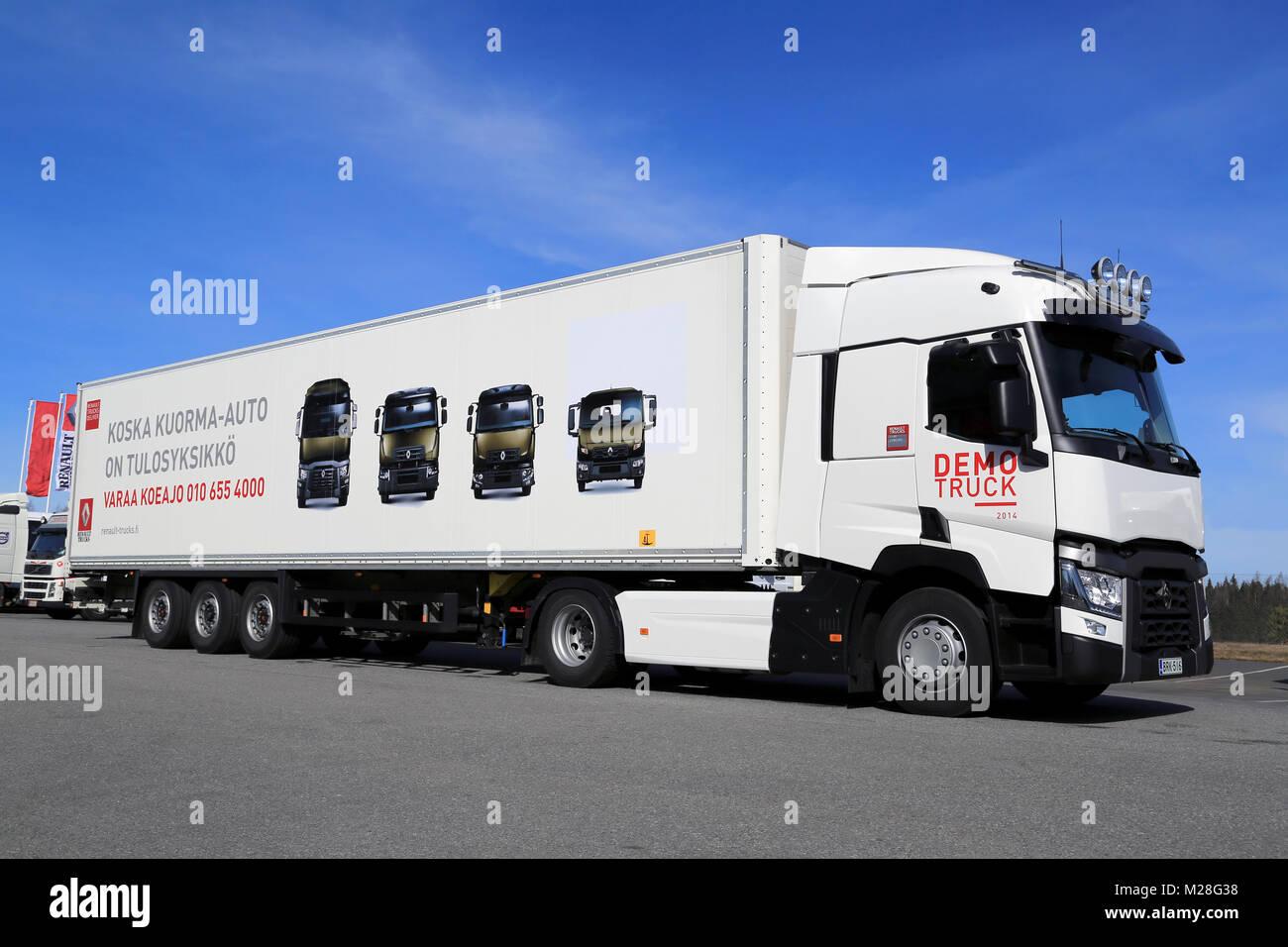 LIETO FINLAND - APRIL 5 2014: Renault Trucks presents the new Stock Photo: 173521244 - Alamy