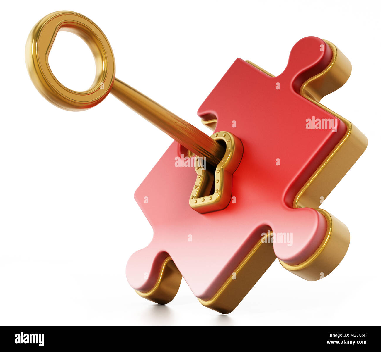 Golden key unlocking red puzzle piece  3D illustration Stock Photo