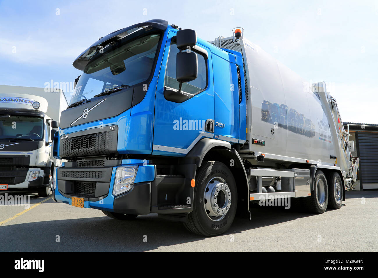 LIETO, FINLAND - APRIL 5, 2014: Volvo Trucks presents the new FE as part of their new range at Volvo Trucks and - Stock Image