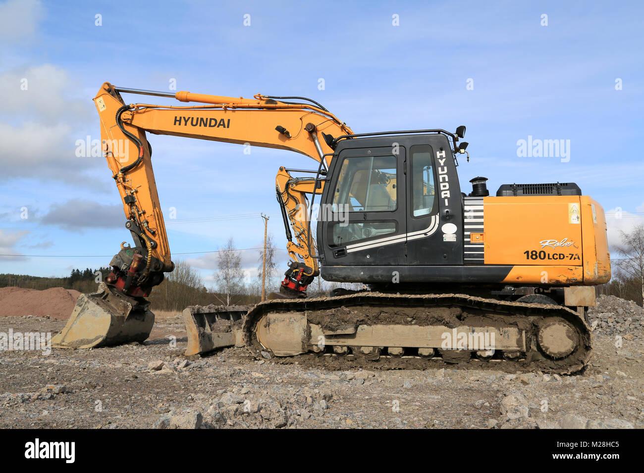 TURKU, FINLAND - APRIL 12, 2014: Hyundai Robex crawler excavator at  construction site