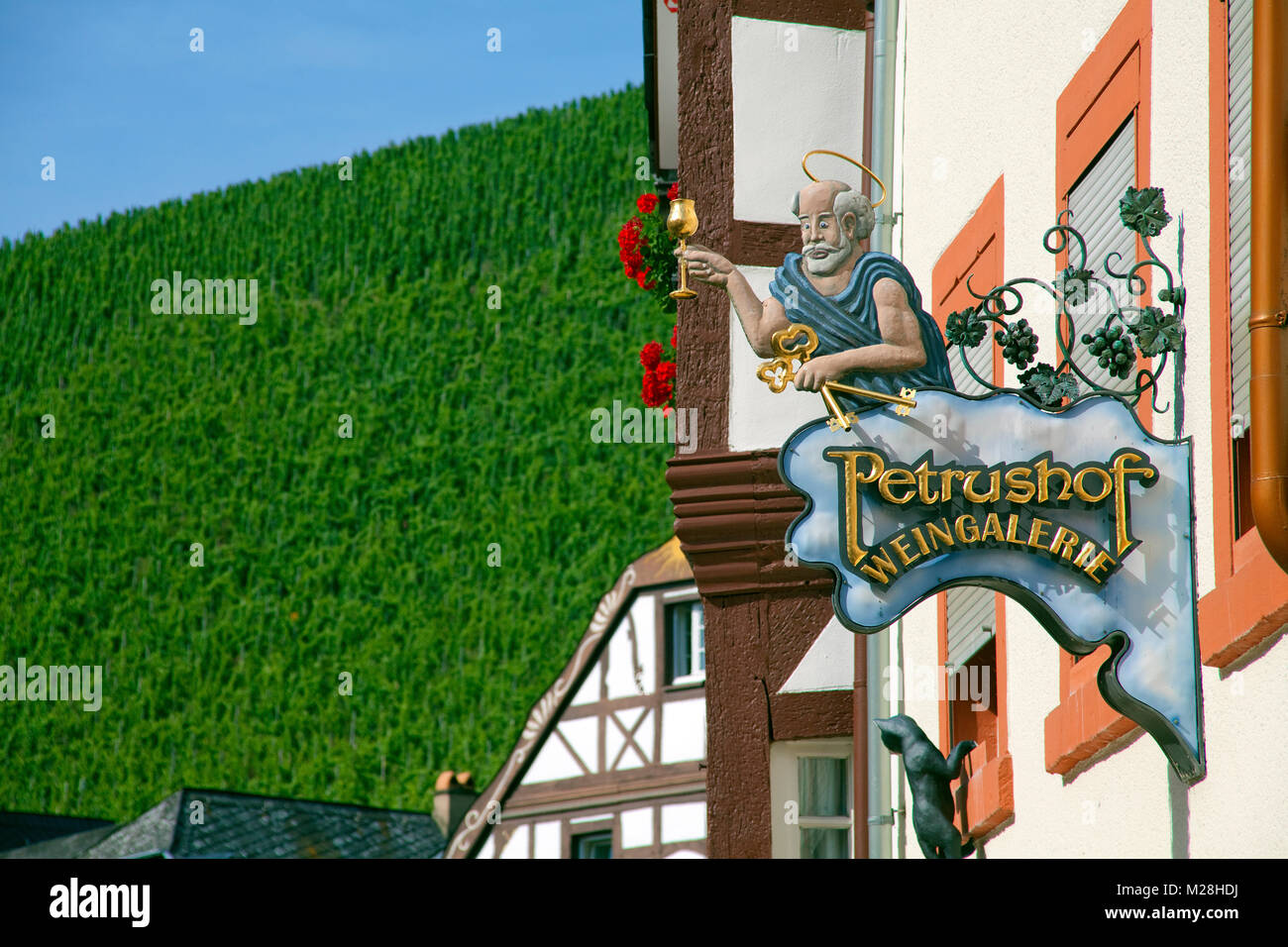 Sign of an inn, gastronomy sign of a wine tavern, old town of Bernkastel-Kues, Moselle river, Rhineland-Palatinate, Stock Photo