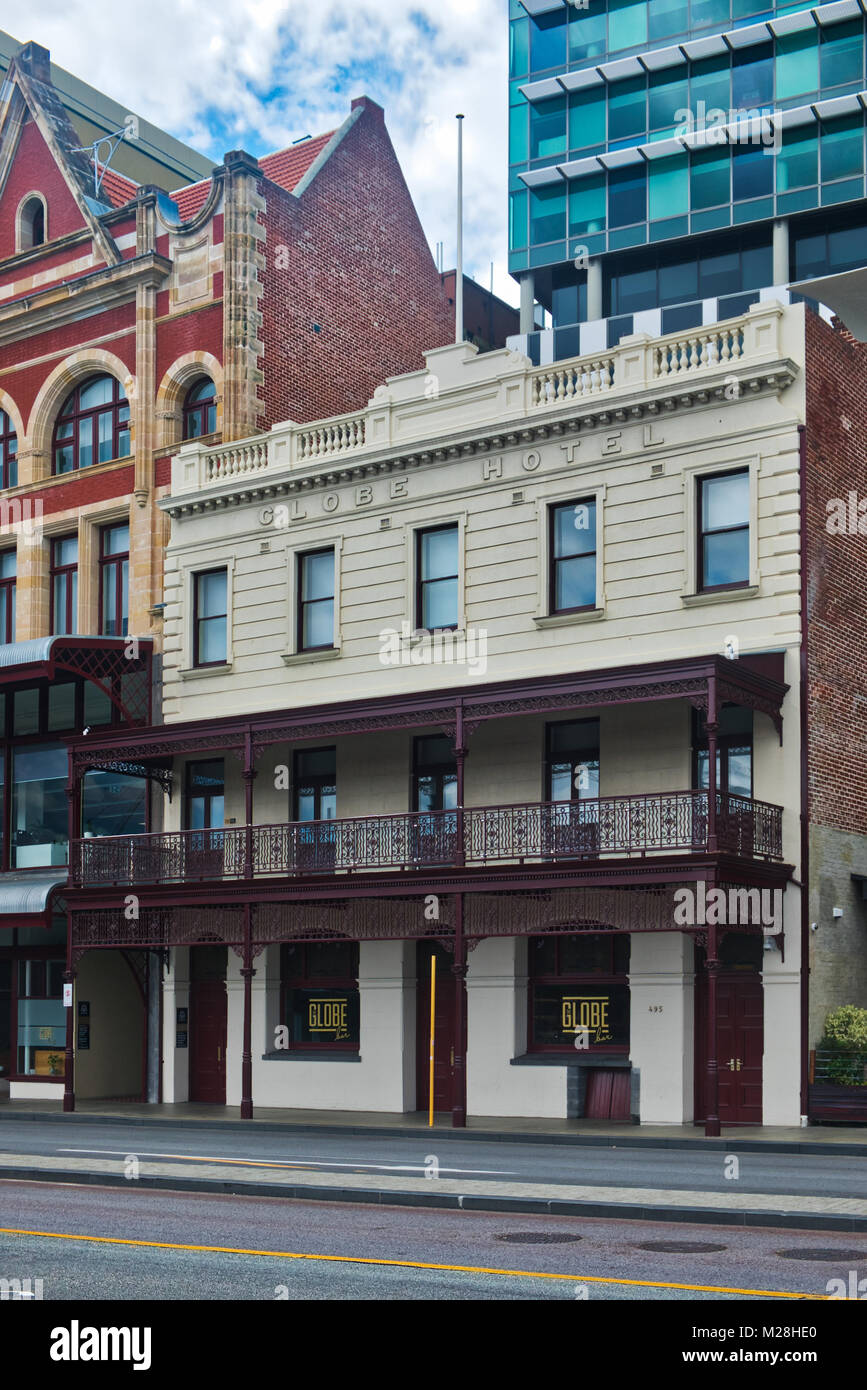 Facelift for Perth CBD Buildings Reveals  Victorian Architecture building fronts to red brick buildings in. Western Stock Photo