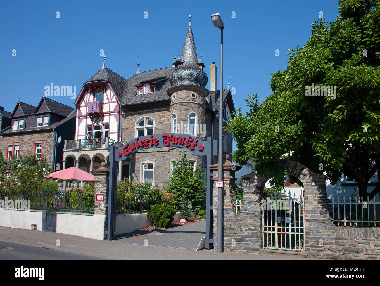 Gallery 'Faust' at a typical Moselle villa, wine village Bernkastel-Kues, Moselle river, Rhineland-Palatinate, - Stock Image
