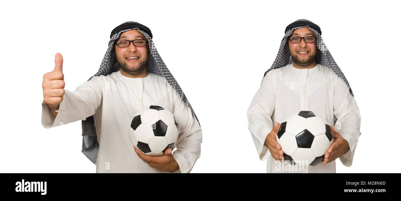 Concept with arab man isolated on white - Stock Image