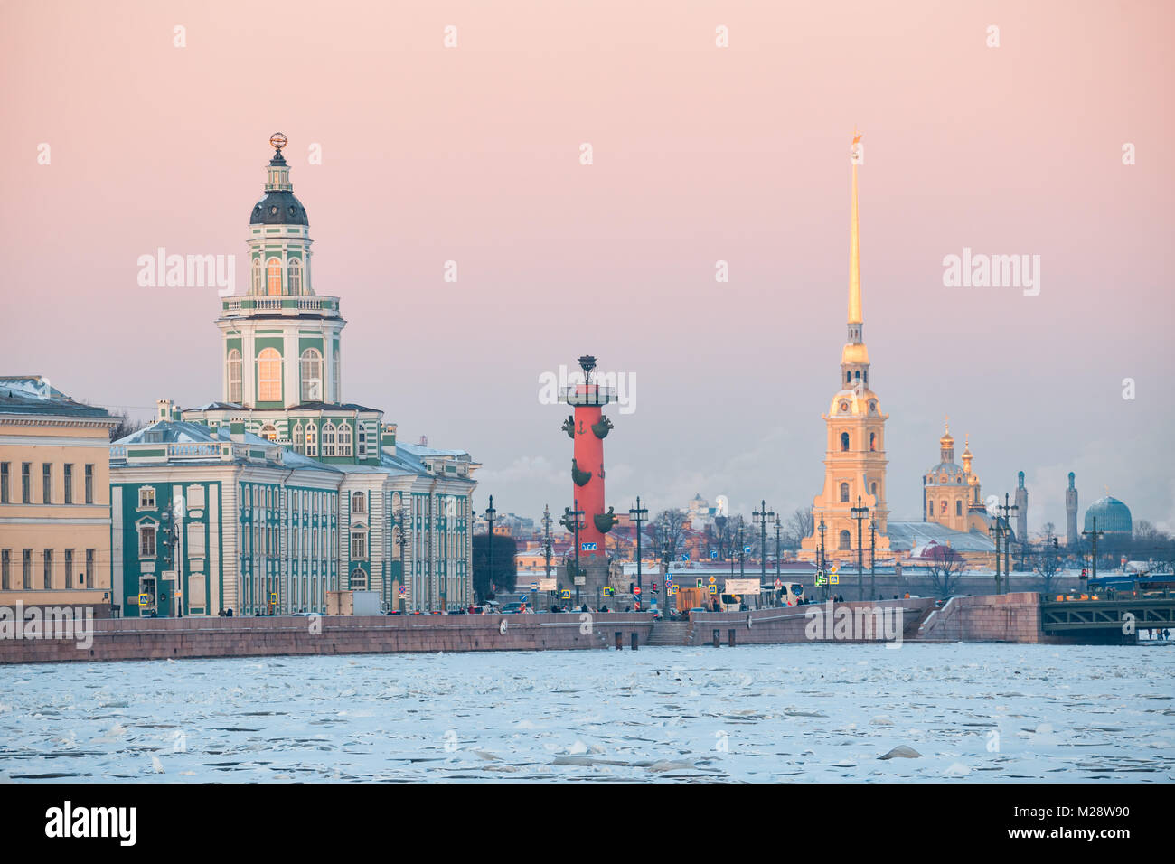 View of the St. Petersburg embankment at sunset in winter, an urban landscape in pastel colors - Stock Image