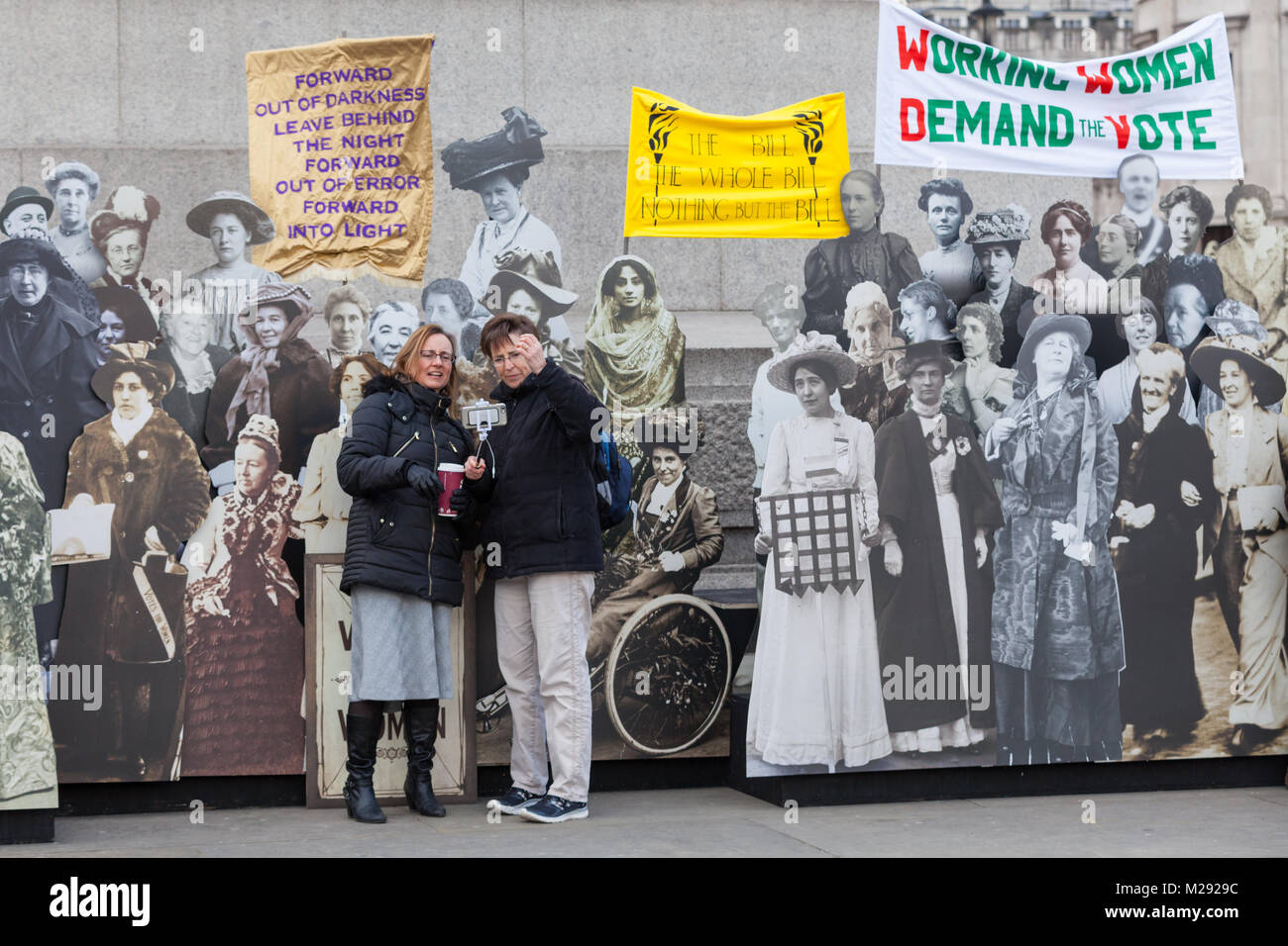 Trafalgar Square, London, 6th Feb 2018. Tourists and Londoners interact with the exhibition A collection of life - Stock Image