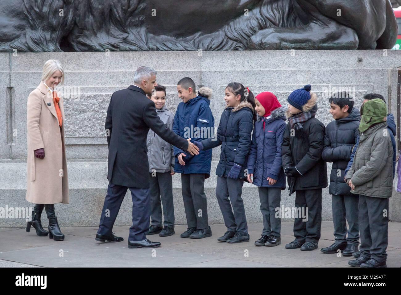 London, UK. 6th Feb, 2018. The Mayor of London hosts a symbolic exhibition in Trafalgar Square marking 100 years Stock Photo