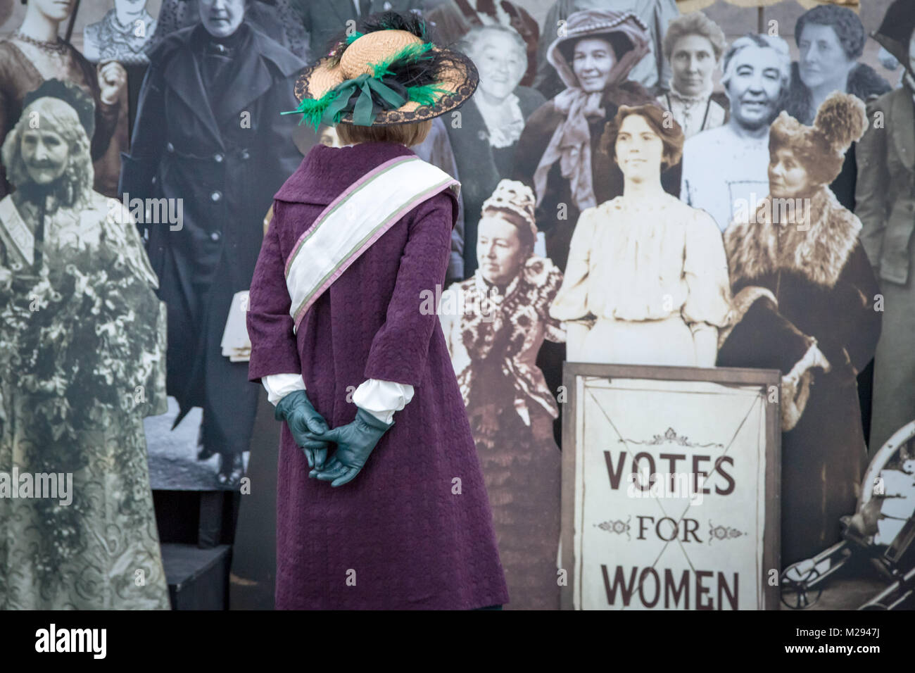 London, UK. 6th Feb, 2018. The Mayor of London including historian Lucy Worsley (pictured) hosts a symbolic exhibition in Trafalgar Square marking 100 years since the 1918 Representation of the People Act was passed - a landmark victory which gave the first women the right to vote. Credit: Guy Corbishley/Alamy Live News Stock Photo