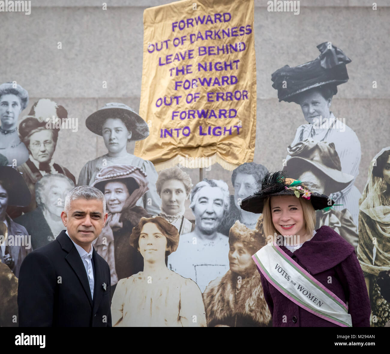 London, UK. 6th Feb, 2018. The Mayor of London including historian Lucy Worsley hosts a symbolic exhibition in Trafalgar - Stock Image