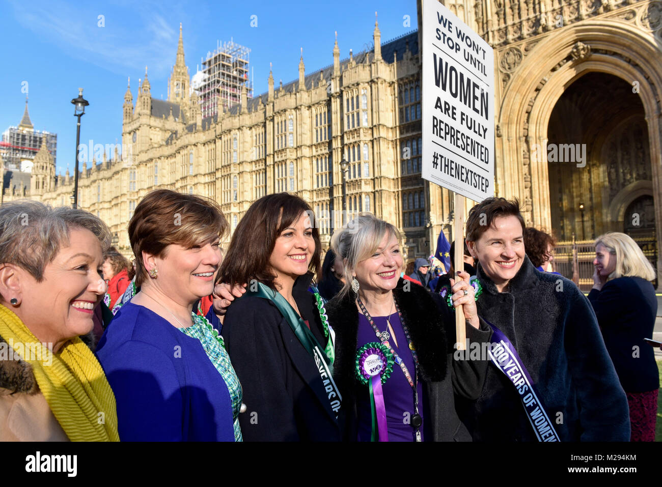 London, UK.  6 February 2018.  (2nd left) Emily Thornberry joins female members of the Shadow Cabinet and Labour - Stock Image