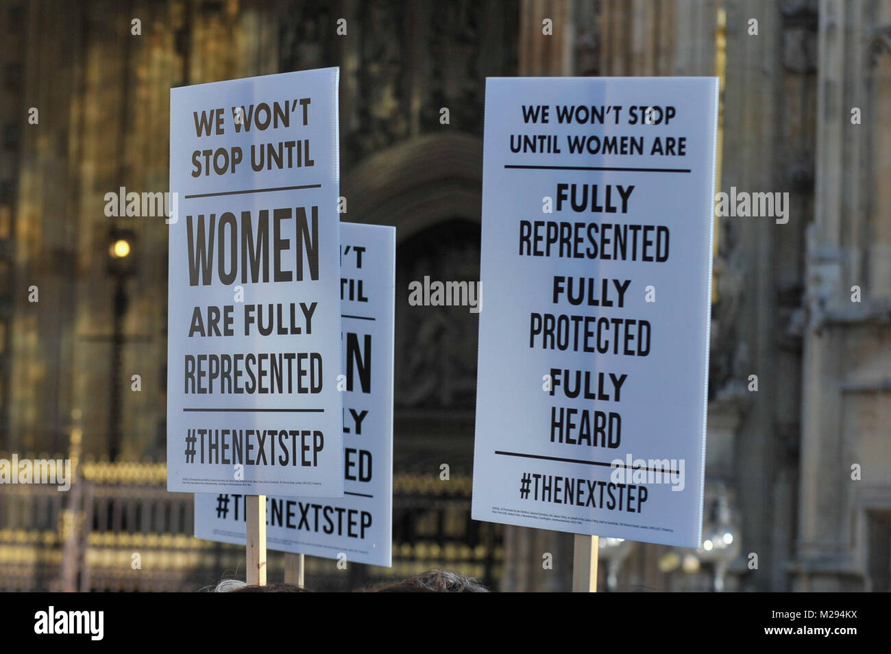 London, UK.  6 February 2018.   Placards held by female members of the Shadow Cabinet and Labour politicians outside - Stock Image