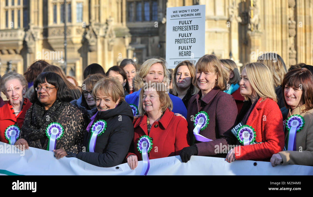 London, UK.  6 February 2018. (L) Margaret Beckett and Diane Abbott join female members of the Shadow Cabinet and - Stock Image