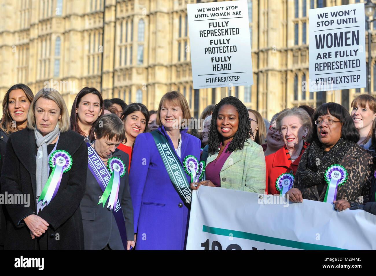 London, UK.  6 February 2018. (C) Harriet Harman, Dawn Butler, Margaret Beckett and Diane Abbott join female members - Stock Image