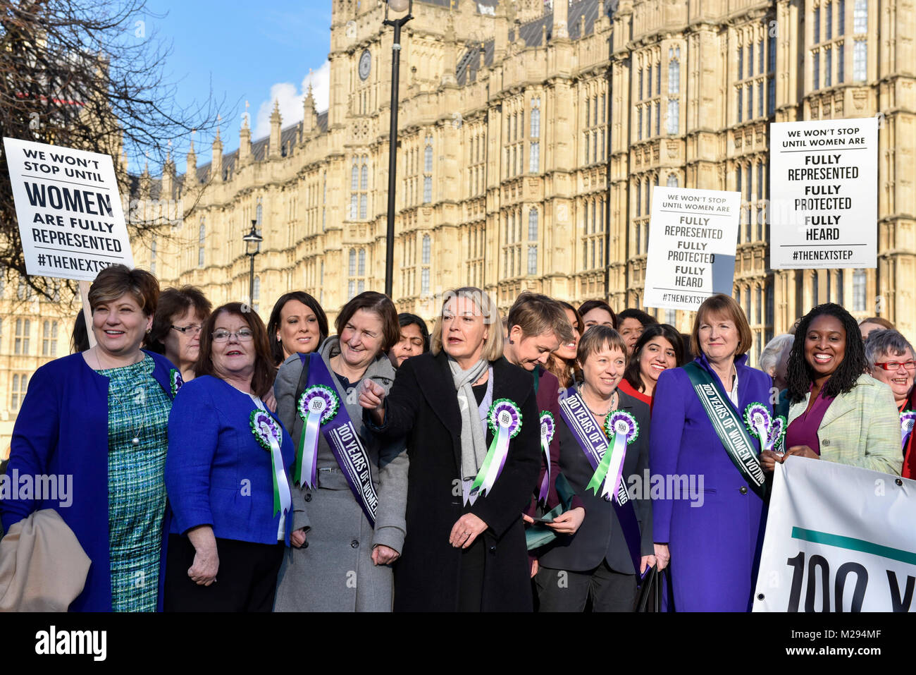 London, UK.  6 February 2018.  (L) Emily Thornberry and (2nd right and right) Harriet Harman and Diane Abbott join - Stock Image