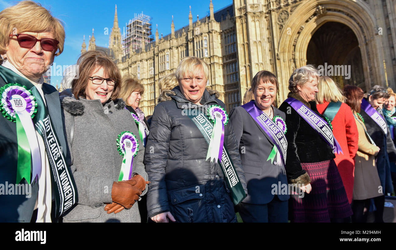London, UK.  6 February 2018. (C) Maria Eagle and Angela Eagle join female members of the Shadow Cabinet and Labour - Stock Image