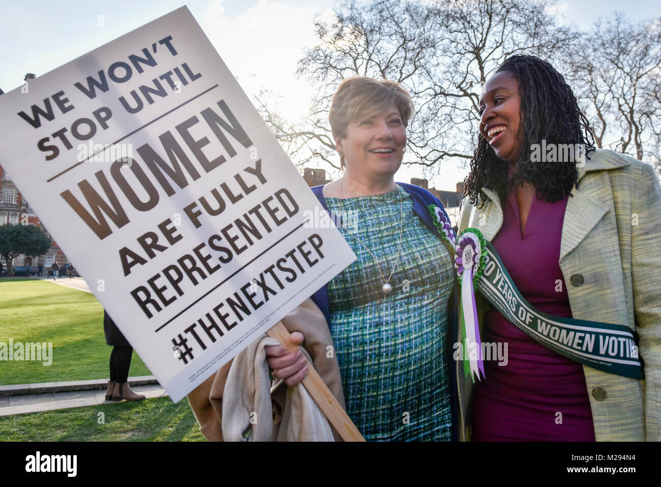 London, UK.  6 February 2018.  (L to R) Emily Thornberry and Dawn Butler join female members of the Shadow Cabinet - Stock Image