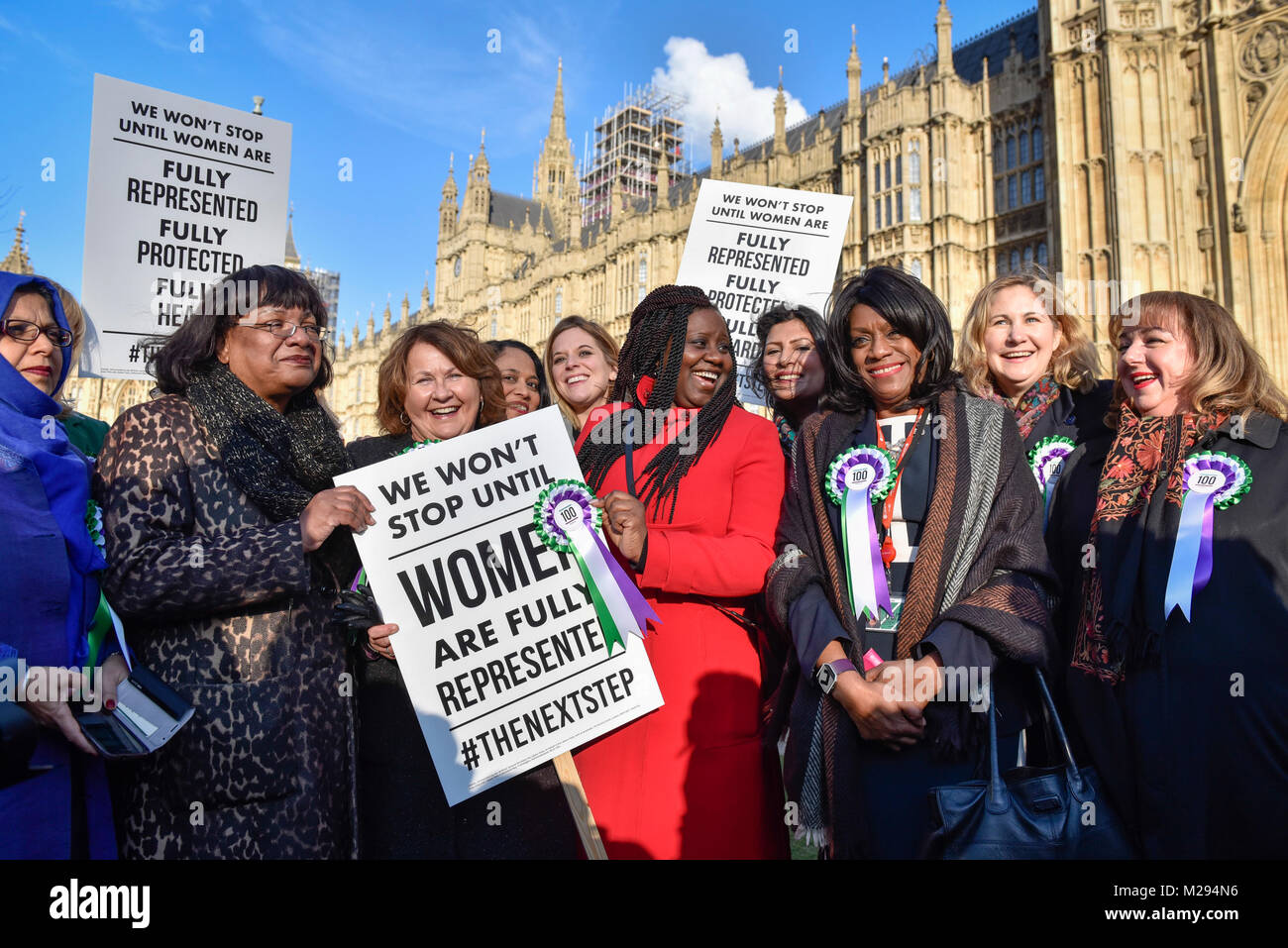 London, UK.  6 February 2018.  (2nd left) Diane Abbott joins female members of the Shadow Cabinet and Labour politicians - Stock Image