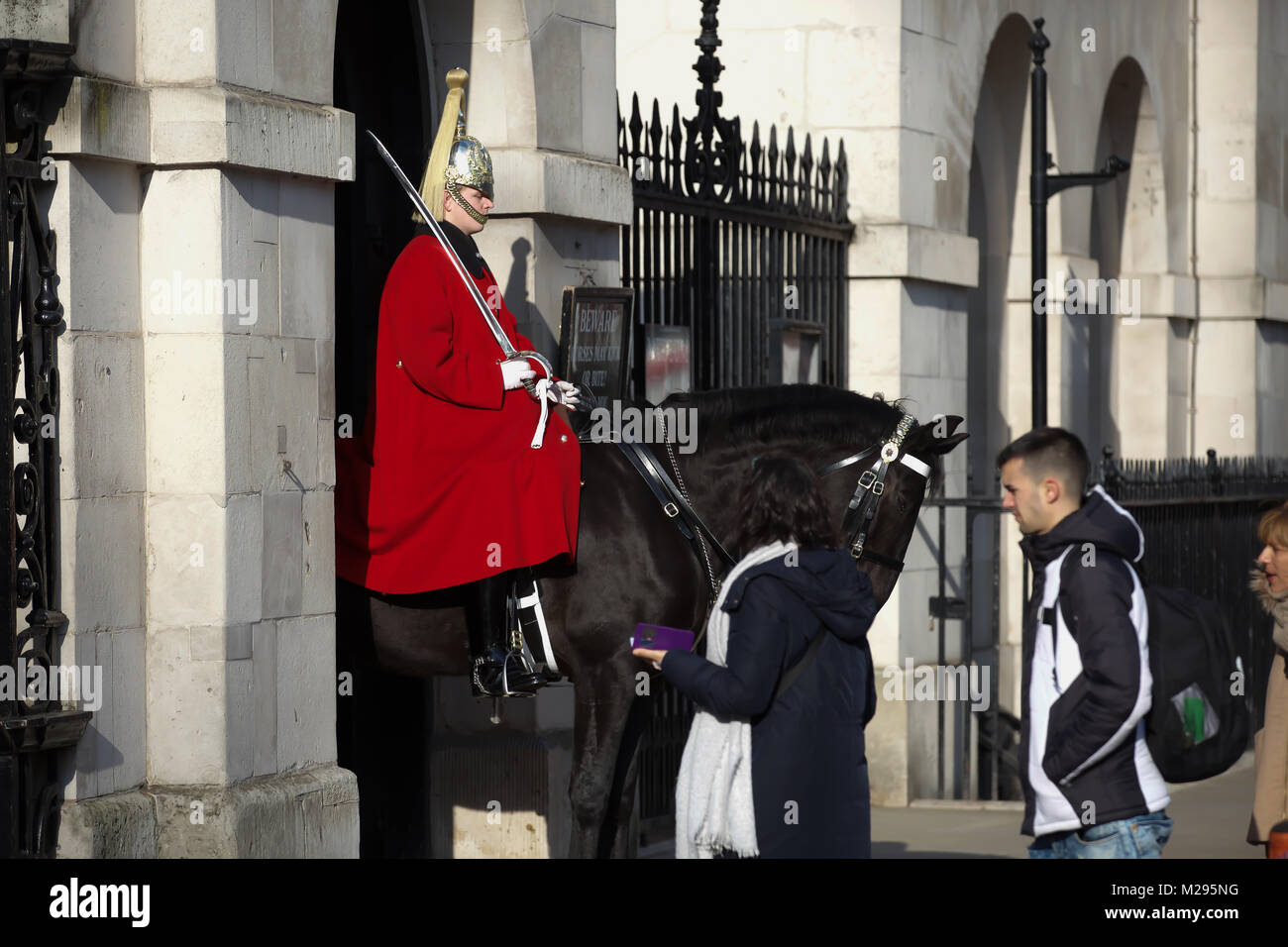 London, UK. 6th Feb, 2018. UK Weather. Chilly day Horseguards Parade in Central London. People wrap up warm as the Stock Photo