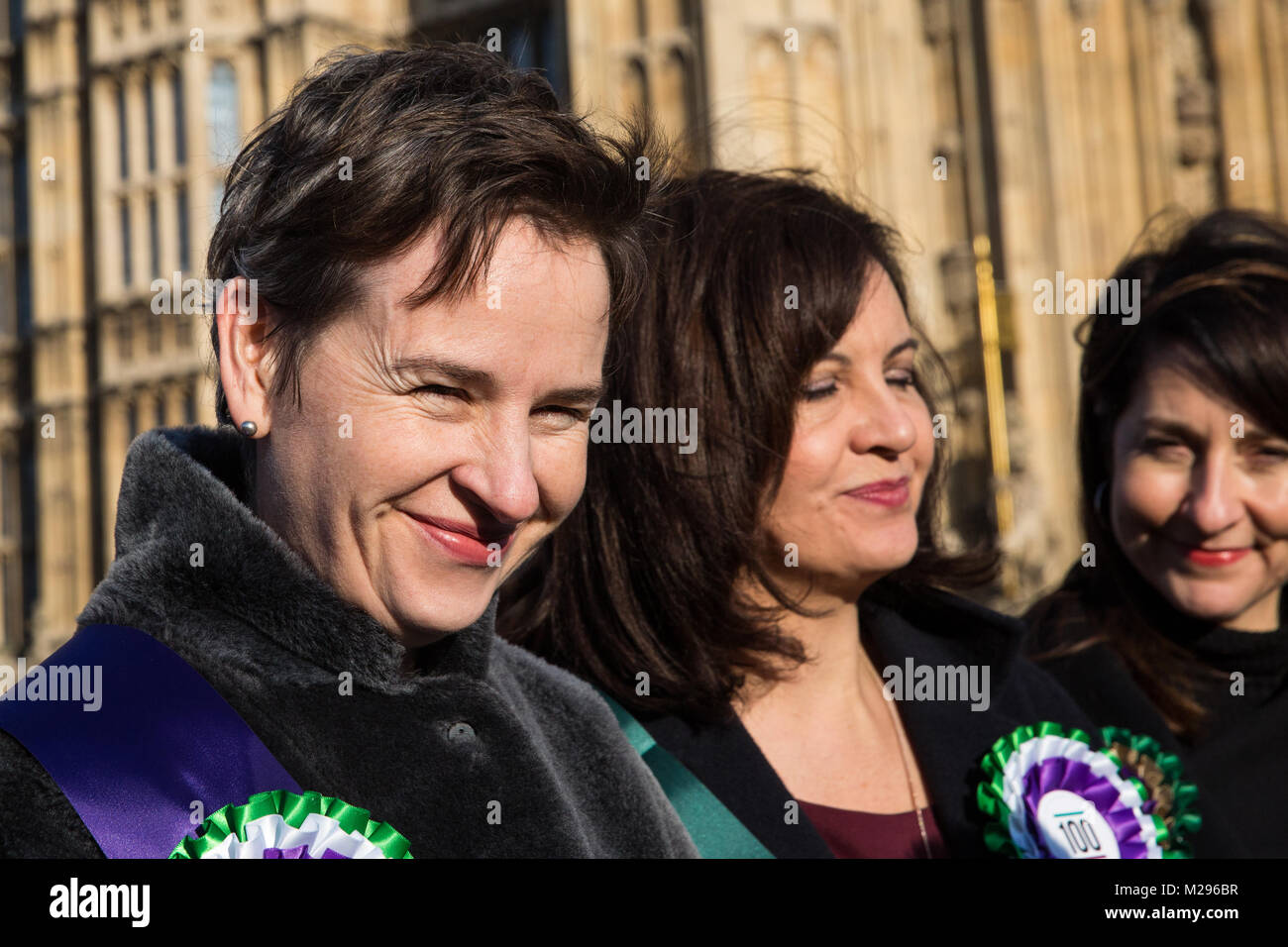 London, UK. 6th Feb, 2018. Mary Creagh, MP for Wakefield, Caroline Flint, MP for Don Valley, and Liz Kendall, MP - Stock Image