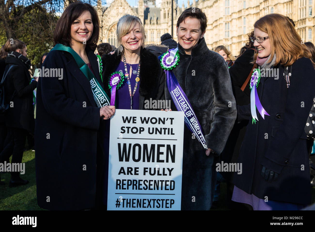 London, UK. 6th Feb, 2018. Caroline Flint MP, Tracy Brabin MP, Mary Creagh MP and Holly Lynch MP attend a gathering - Stock Image