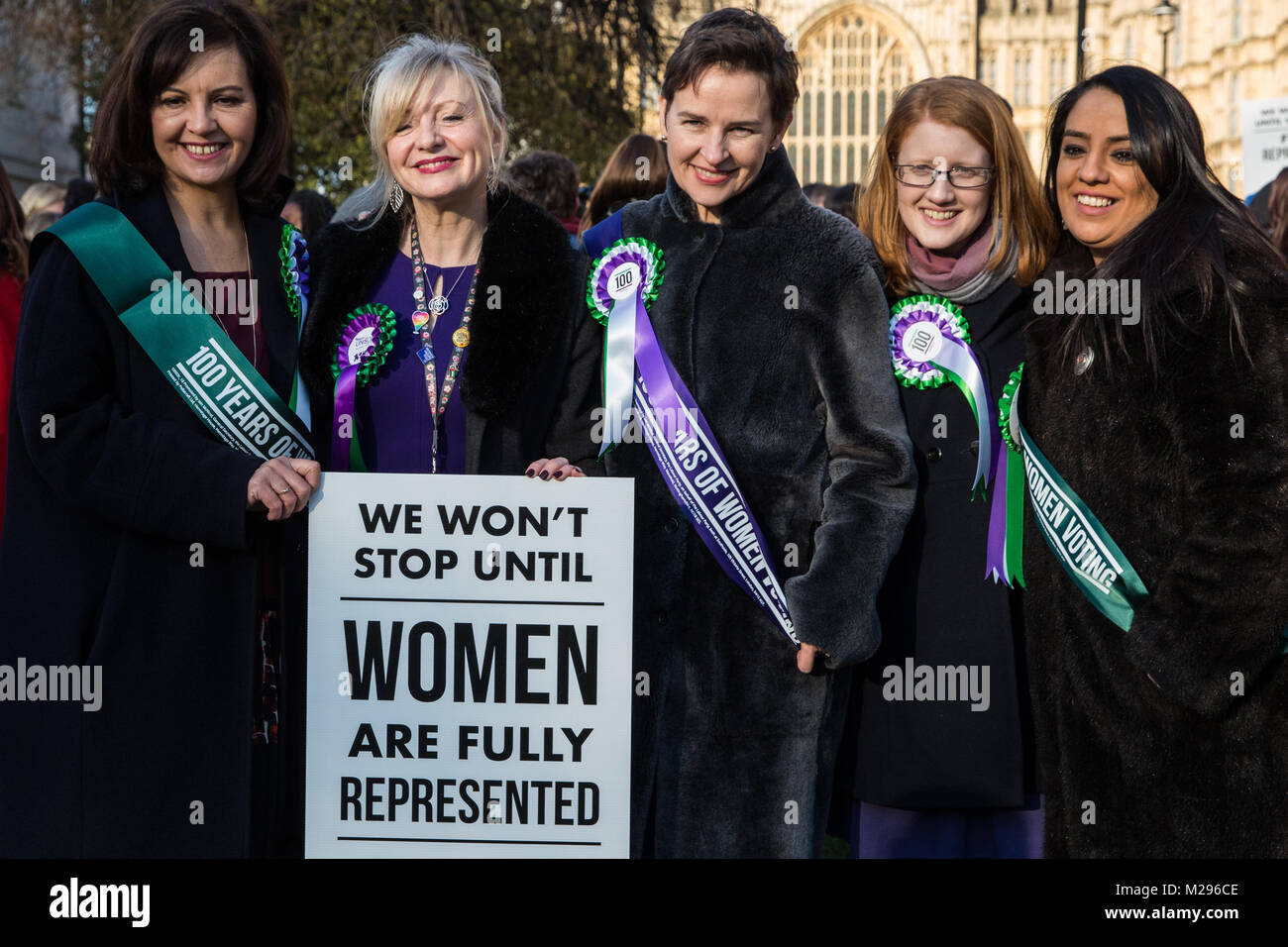 London, UK. 6th Feb, 2018. Caroline Flint MP, Tracy Brabin MP, Mary Creagh MP, Holly Lynch MP and Naz Shah MP attend - Stock Image