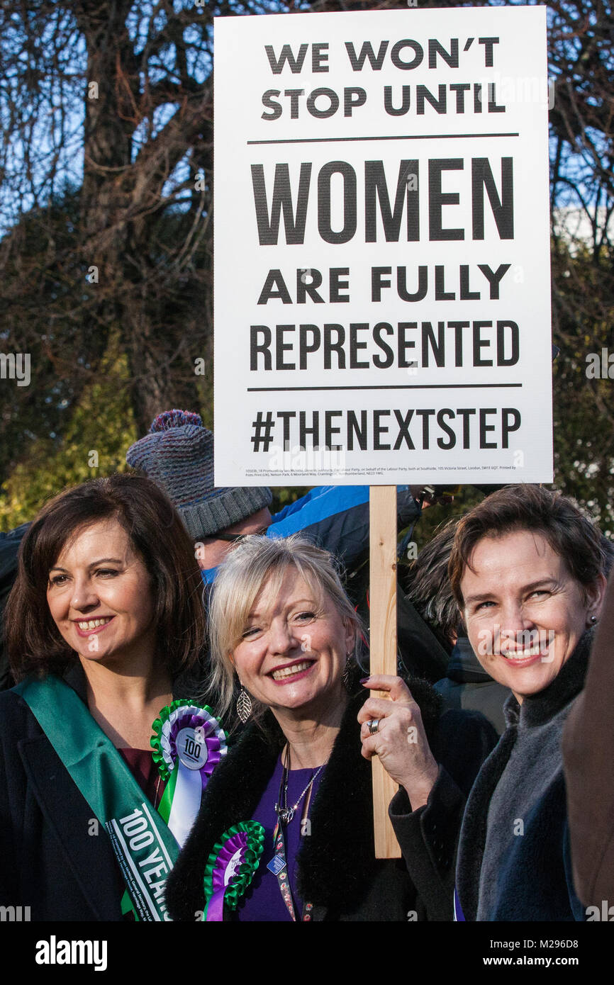 London, UK. 6th Feb, 2018. Caroline Flint MP, Tracy Brabin MP and Mary Creagh MP attend a gathering of female Labour Stock Photo