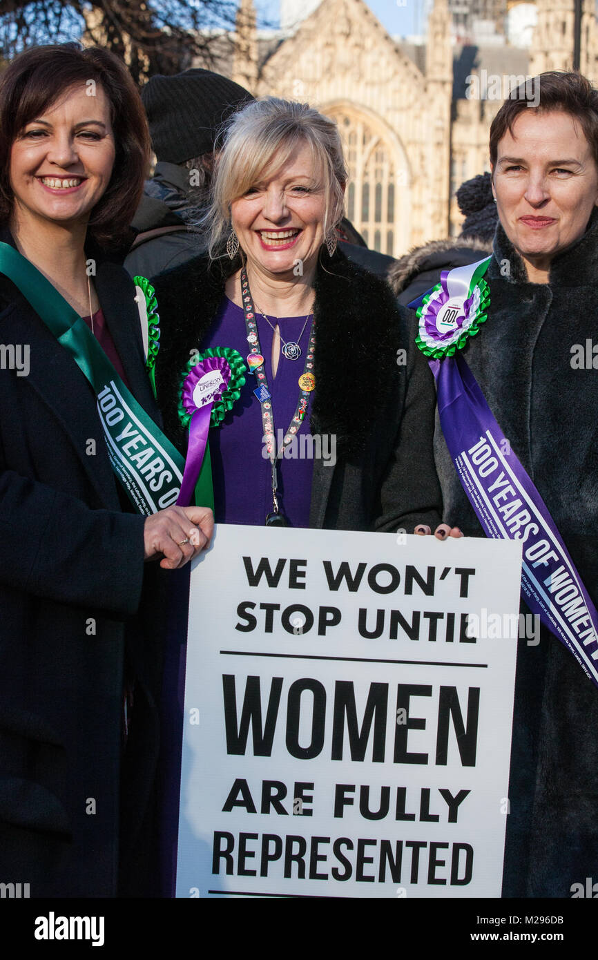 London, UK. 6th Feb, 2018. Caroline Flint MP, Tracy Brabin MP and Mary Creagh MP attend a gathering of female Labour - Stock Image