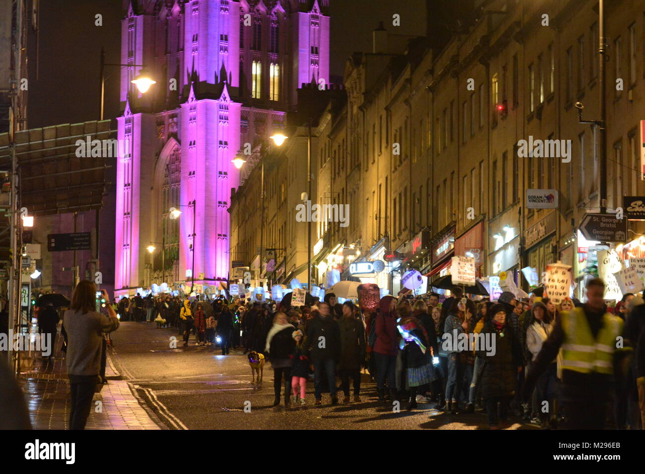 Bristol, UK. 6th Feb, 2018. 100 years ago today British women secured the right to vote. Suffragette Lantern Parade - Stock Image