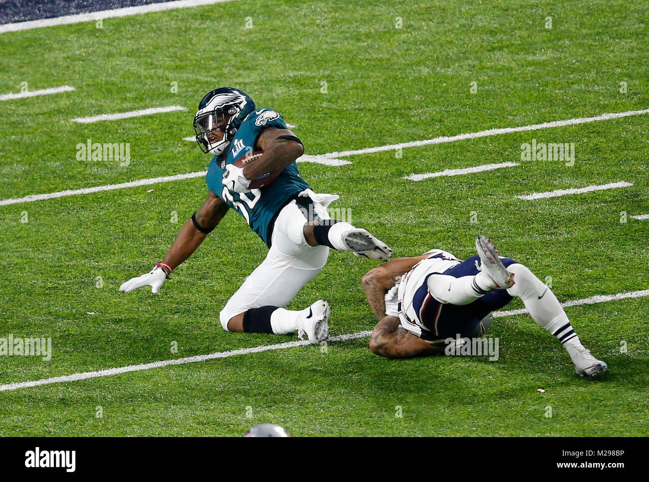 February 04, 2018 Philadelphia Eagles running back Corey Clement (30) carries the ball during Super Bowl LII between - Stock Image