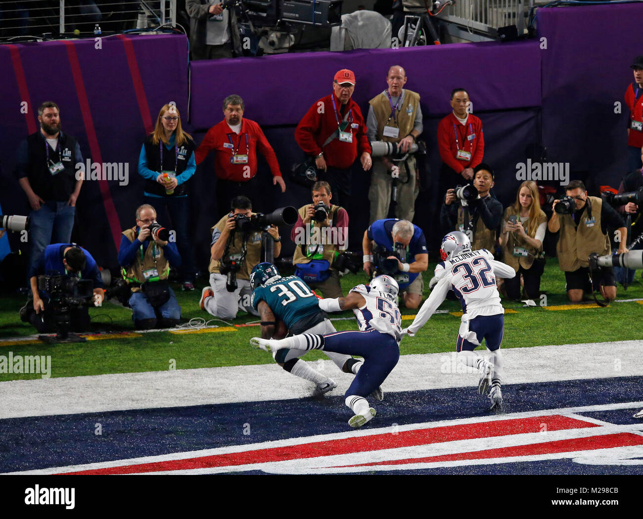 February 04, 2018 Philadelphia Eagles running back Corey Clement (30) makes a catch for a touchdown during Super - Stock Image
