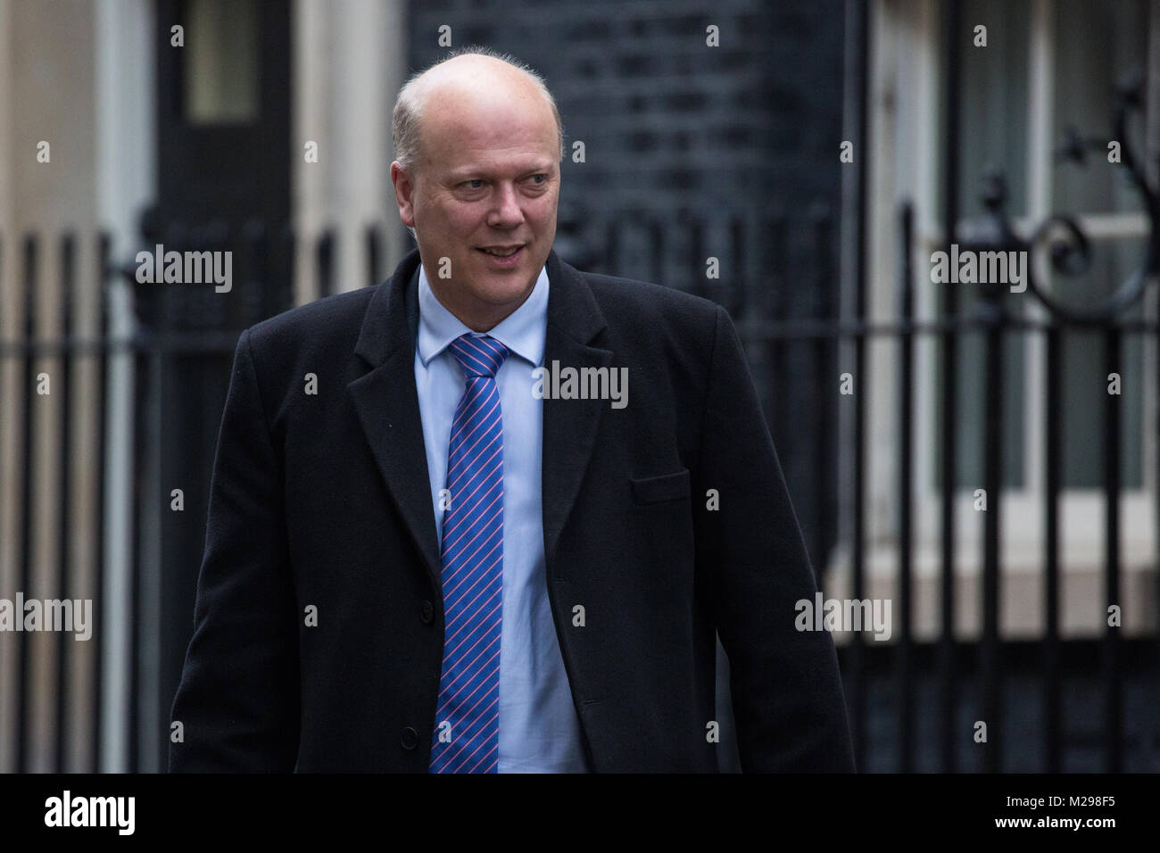 London, UK. 6th February, 2018. Chris Grayling MP, Secretary of State for Transport, leaves 10 Downing Street following - Stock Image