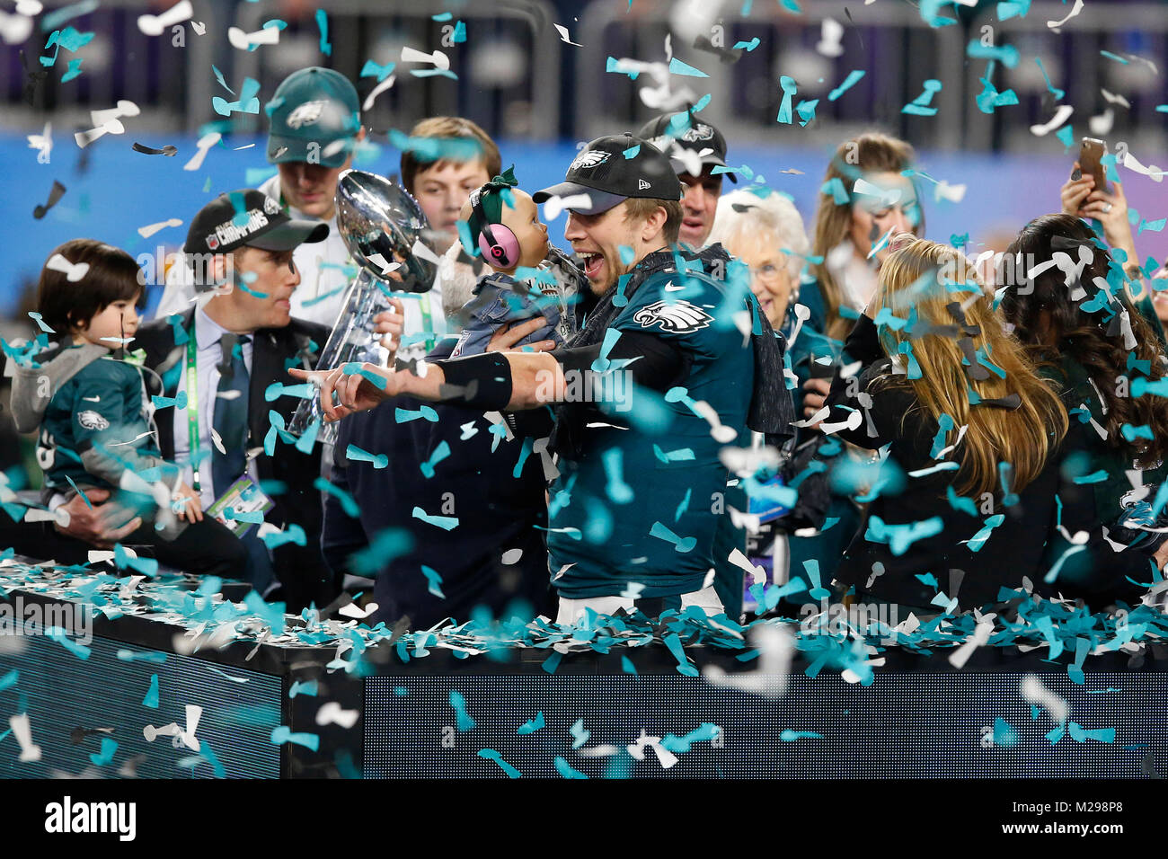 February 04, 2018 Philadelphia Eagles quarterback Nick Foles (9) celebrates with his daughter Lily Foles after Super - Stock Image
