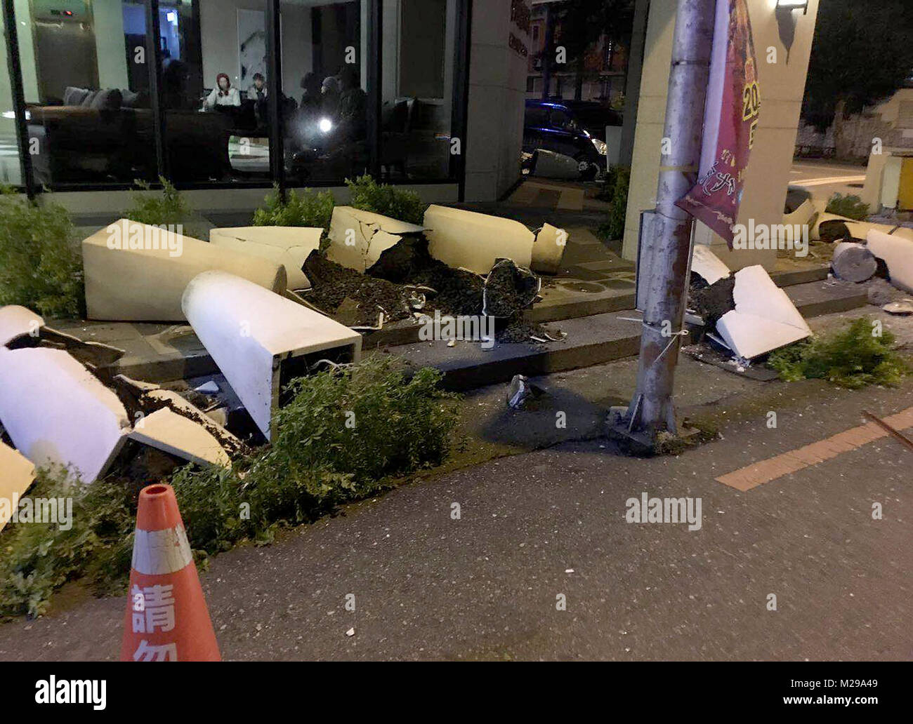 Taipei. 7th Feb, 2018. Flowerpots are damaged in quake-hit Hualien County, southeast China's Taiwan, Feb. 7, - Stock Image