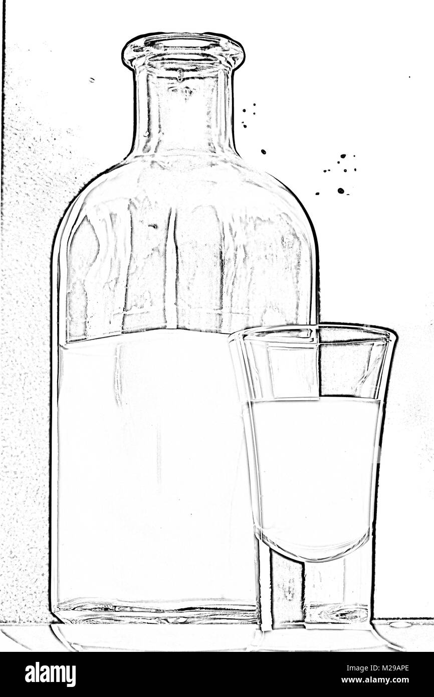 bottle and a glass of moonshine - Stock Image