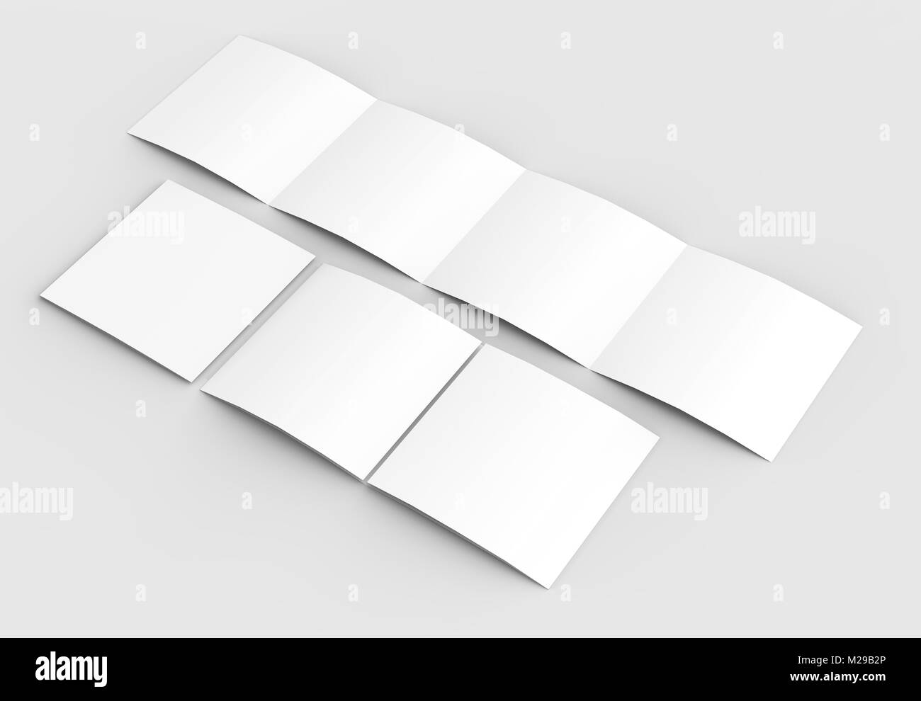 Square four folded - 4-Fold - brochure mock-up isolated on soft gray background. 3D illustrating - Stock Photo