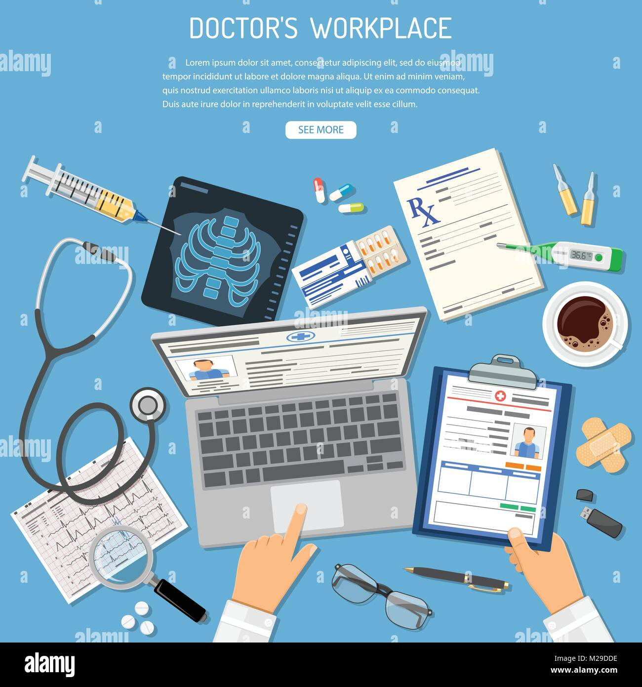 Doctors Workplace and Medical Diagnostics Concept - Stock Image