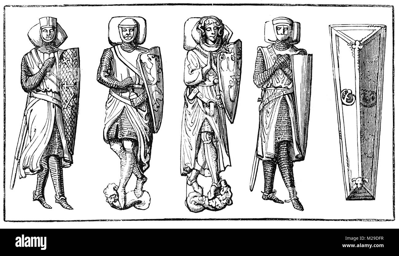 13th and 14th century stone effigies of Knight Templers in the Temple Church, a late 12th-century church in the Stock Photo