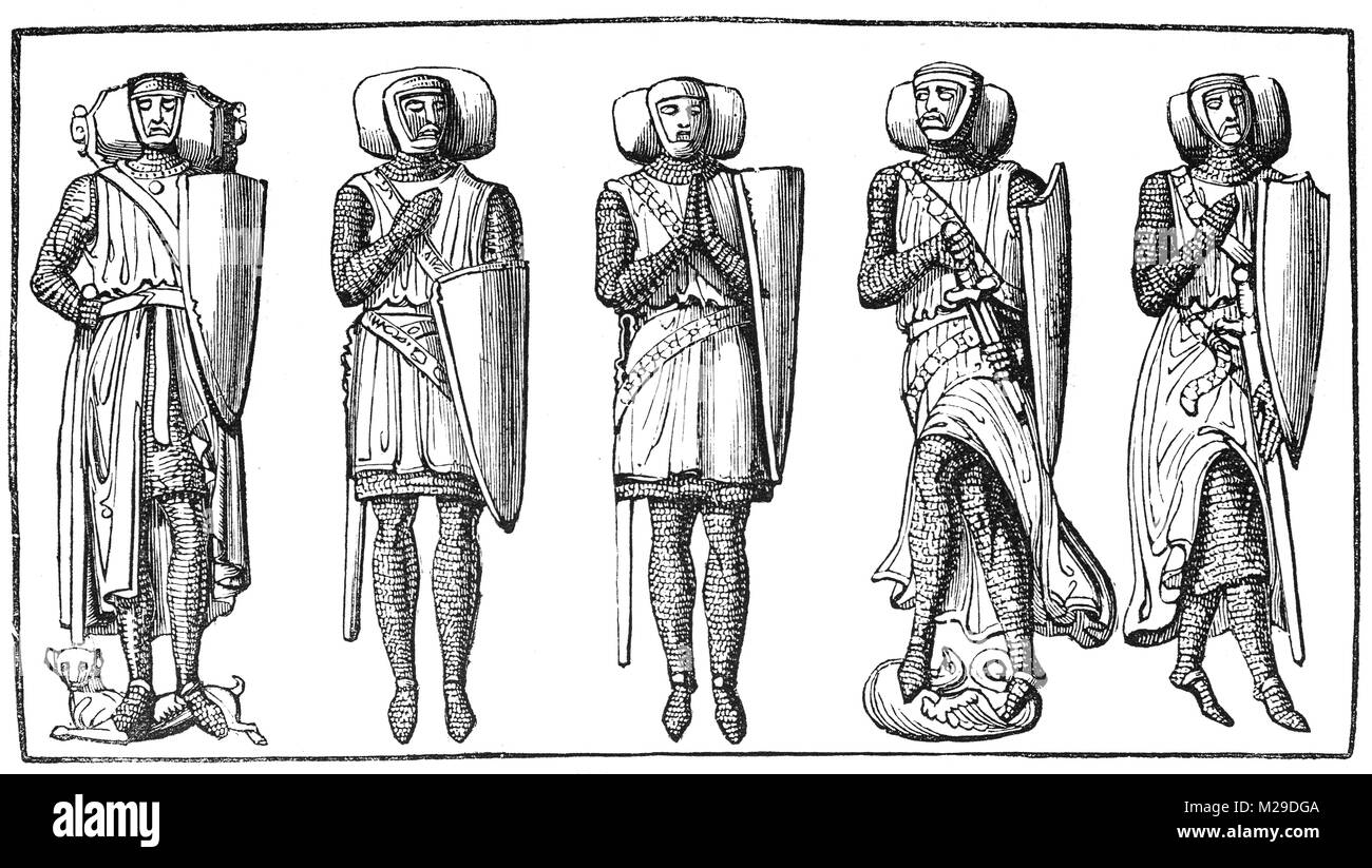 13th and 14th century stone effigies of Knight Templers in the Temple Church, a late 12th-century church in the - Stock Image